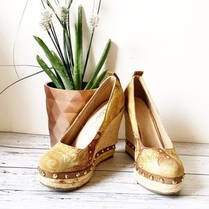 {Aldo} Leather, Canvas & Gold Studded Wedge